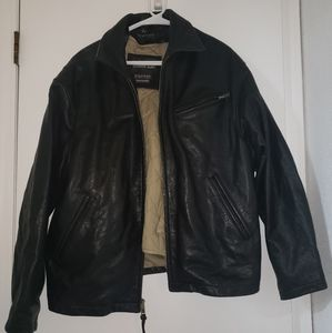 Black Heavy Leather Men's Insulated Jacket Wilsons